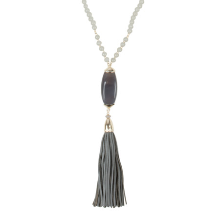 AlexMax Monica Long Stone Pendant Tassel Necklace - Grey