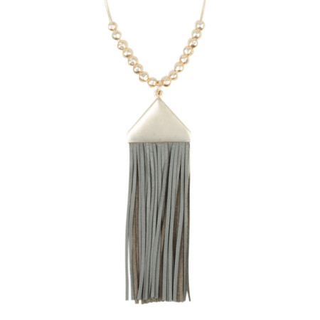 AlexMax Virna Long Triangle Pendant Tassel Necklace - Grey