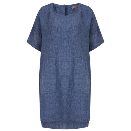 Sahara Crinkle Linen Pocket Tunic - Blue