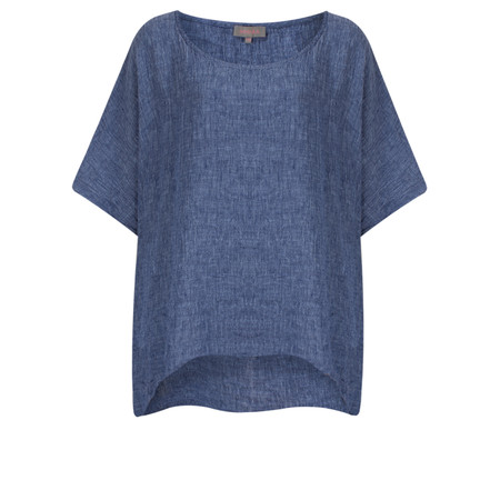 Sahara Crinkle Linen Box Top - Blue