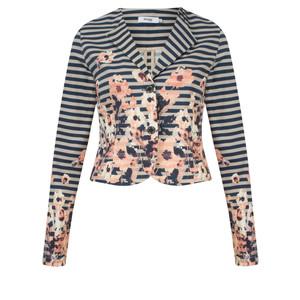 Myrine Babet Striped Floral Print Jacket