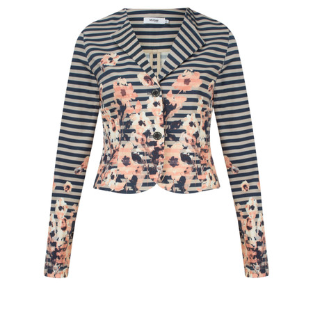 Myrine Babet Striped Floral Print Jacket - Black