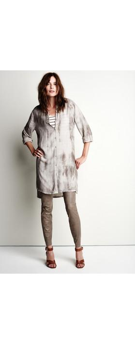 Sandwich Clothing Tie Dye Long Sleeve Shirt Dress Pebble Sand
