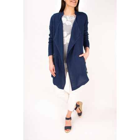 Sandwich Clothing Longline Open Front Linen Jacket - Blue