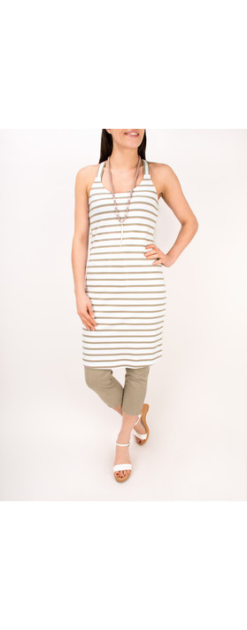 Sandwich Clothing Essentials Long Stretch Stripe Cotton Vest Pebble Sand