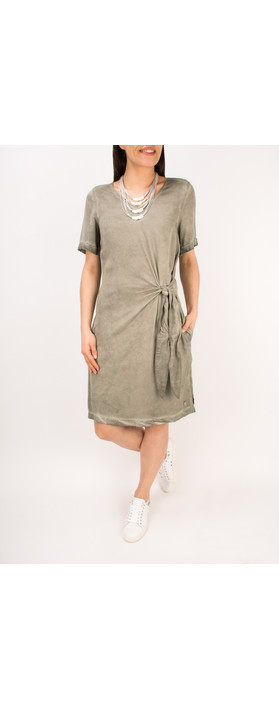 Sandwich Clothing Short Sleeve Dress with Side Tie Detail Pebble Sand