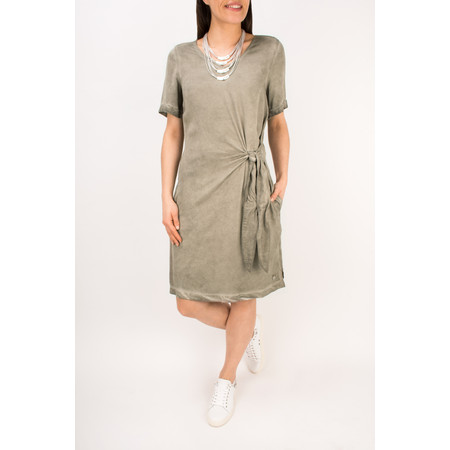 Sandwich Clothing Short Sleeve Dress with Side Tie Detail - Beige