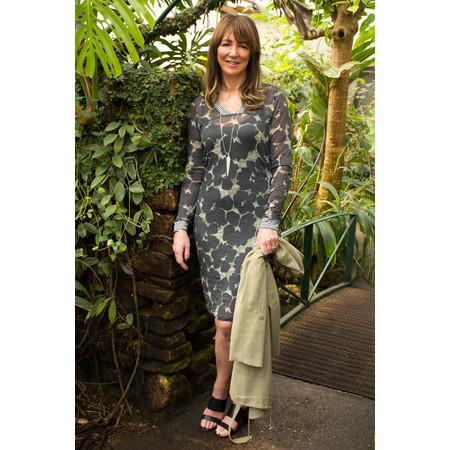 Sandwich Clothing Sheer Crinkle Floral V-Neck Dress - Grey
