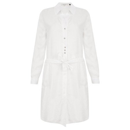 Sandwich Clothing Longline Linen Shirt with Tie Waist - White