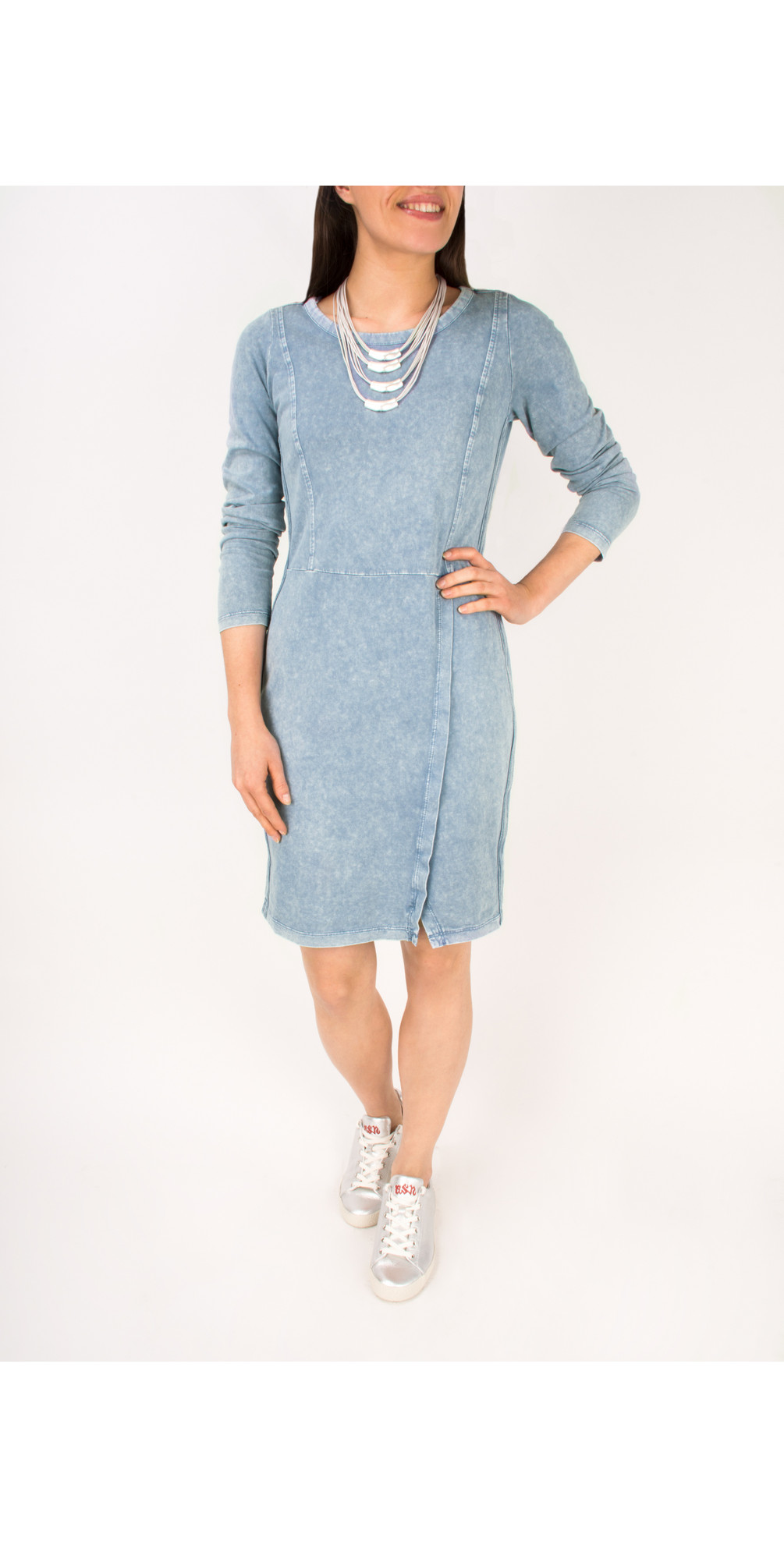 Long Sleeve Jersey Dress with Split Hem Detail main image