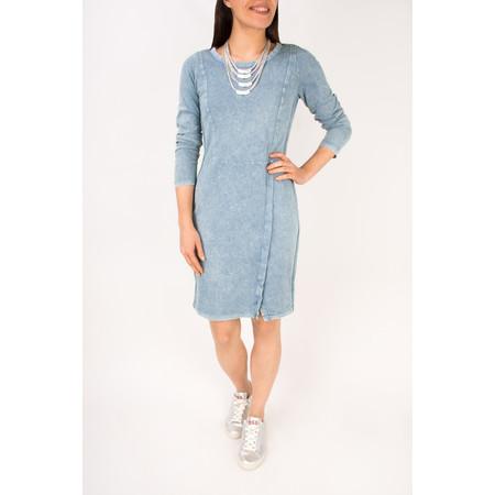 Sandwich Clothing Long Sleeve Jersey Dress with Split Hem Detail - Blue