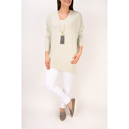Arka Lila Slouchy V Neck Top - Beige