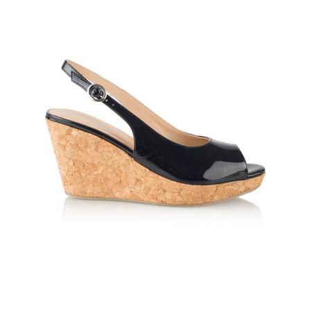 Vanilla Moon Shoes Marie Patent Wedge Sandal - Blue