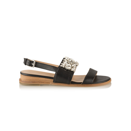 Vanilla Moon Shoes Gilly Leather Jewelled Sandal  - Black
