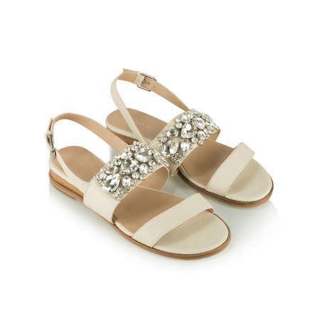 Vanilla Moon Shoes Gilly Leather Jewelled Sandal  - Beige