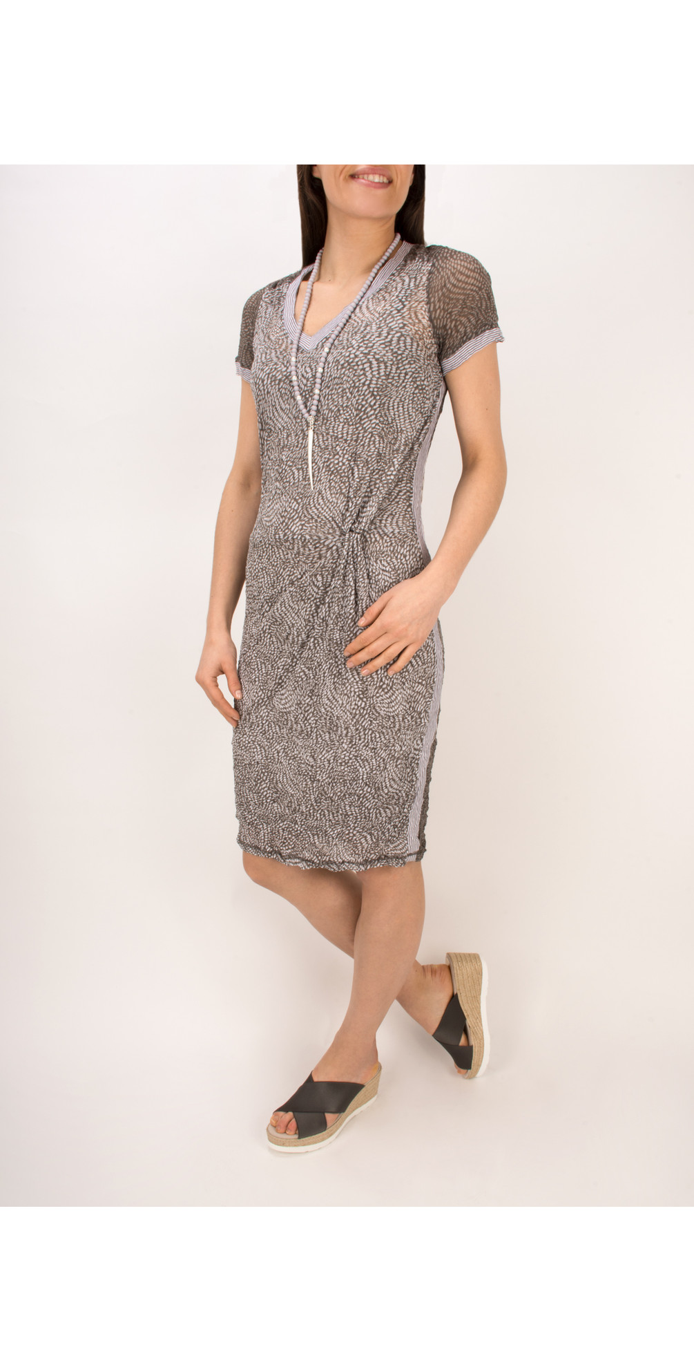 Dotted Print Short Sleeve Crinkle Dress main image