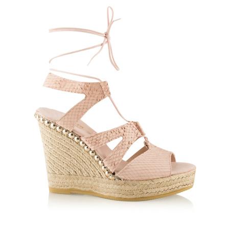 Viguera Odette Lace Detail Wedge Sandal - Pink