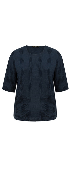Grizas Linen Spot Short Sleeve Top 421 Navy