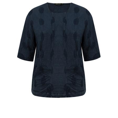 Grizas Linen Spot Short Sleeve Top - Blue