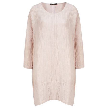 Grizas Long Sleeve Silk Crinkle Tunic Top  - Pale Pink