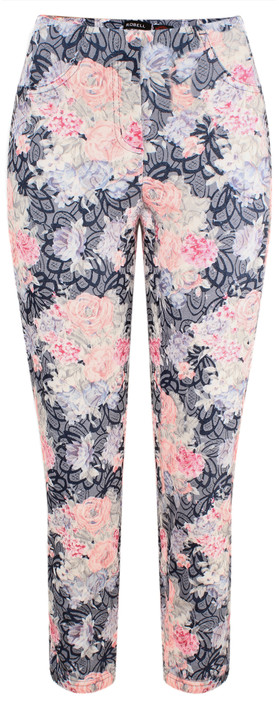 Robell Trousers Bella 09 Floral Navy