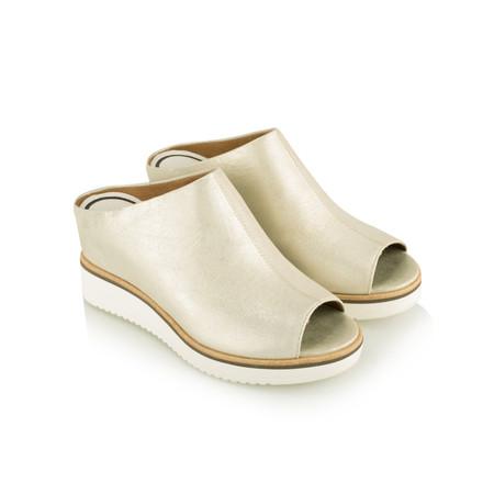 Tamaris  Leather Mule Sandal - Gold
