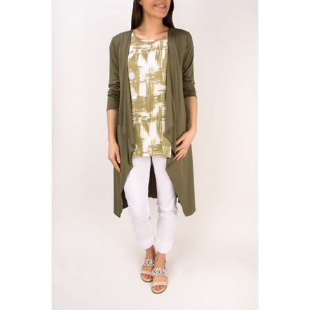 Masai Clothing Ibone Long Fitted Jersey Cardigan - Green