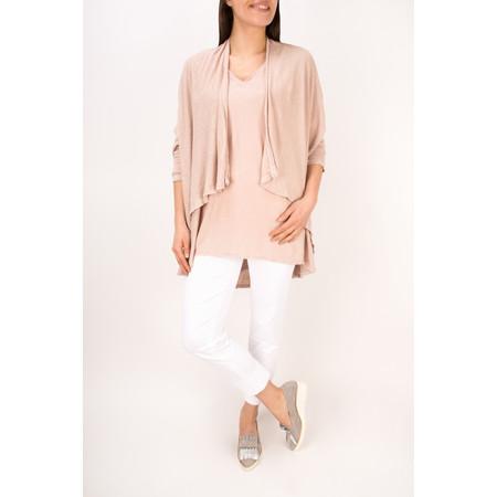 Grizas Linen Knit Oversize V Top - Pale Pink