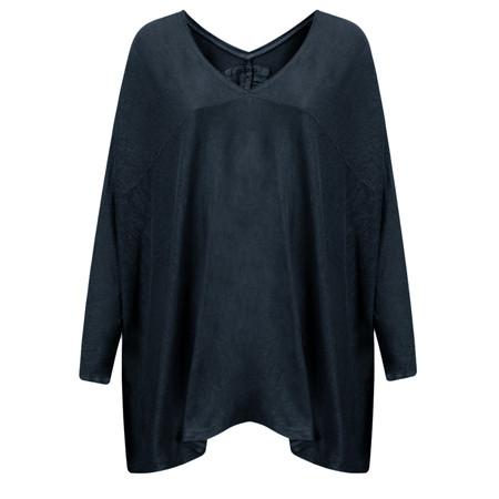 Grizas Linen Knit Oversize V Top - Blue