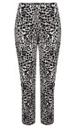 Robell Trousers Black/White Bella 7/8 Animal Print Trousers