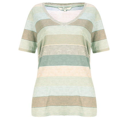 Sandwich Clothing Striped Jersey V Neck T-shirt - Green
