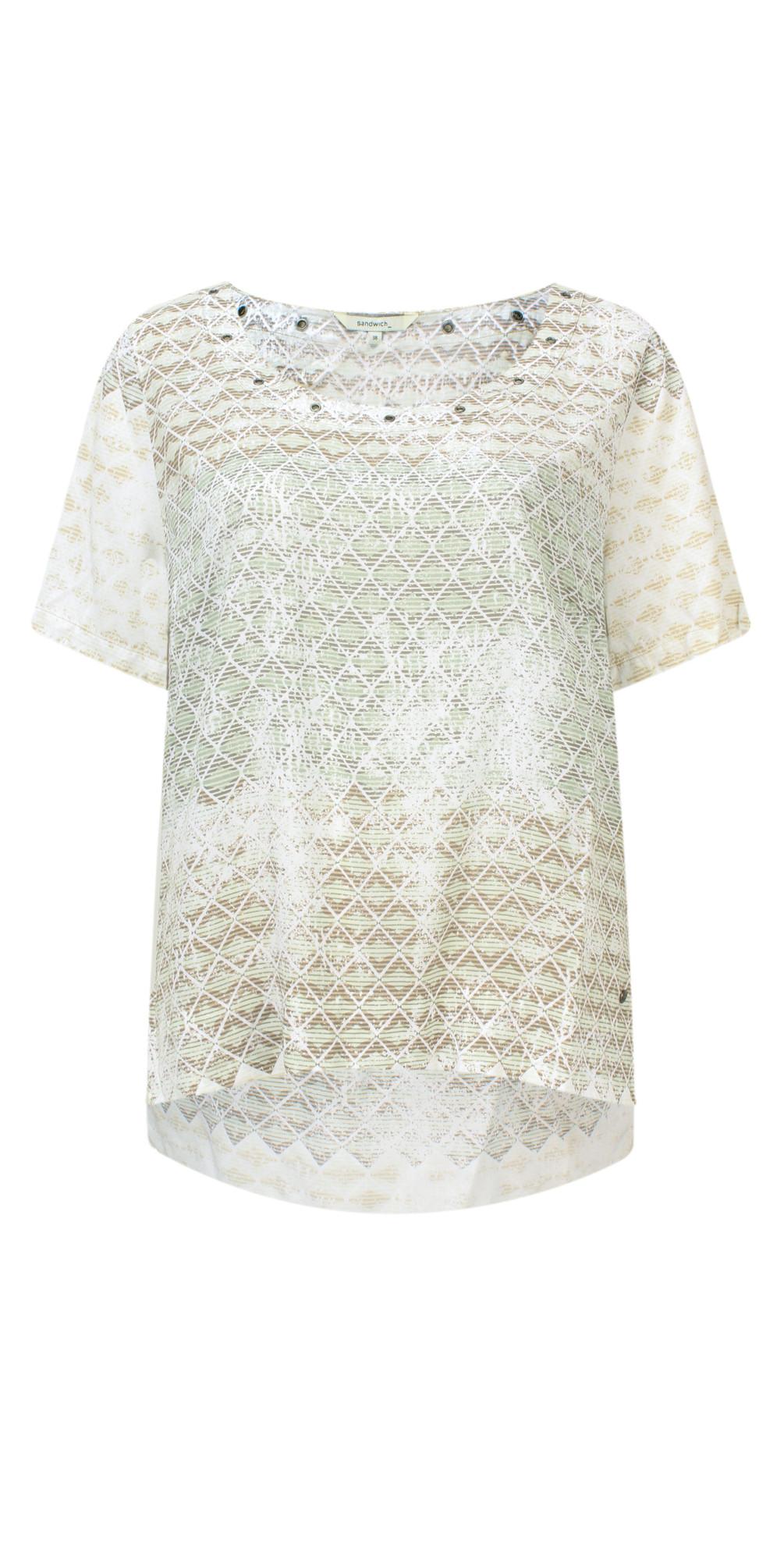 Diamond Check Short Sleeve Blouse main image