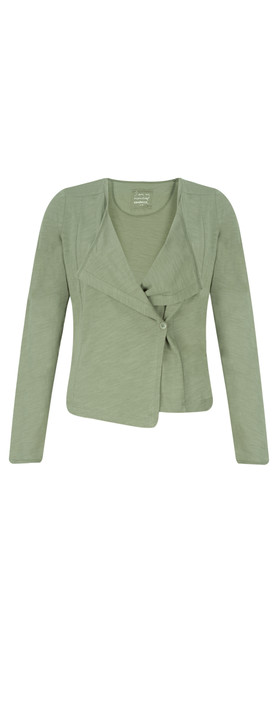 Sandwich Clothing Cotton Slub Jersey Cardigan Washed Jade