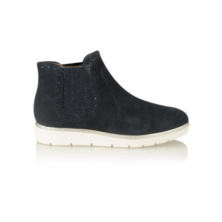 Tamaris  Suede Brogue Chelsea Boot - Blue