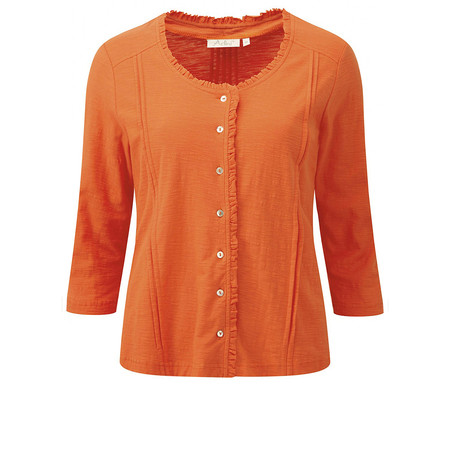 Adini Solid Slub Jade Cardigan - Orange