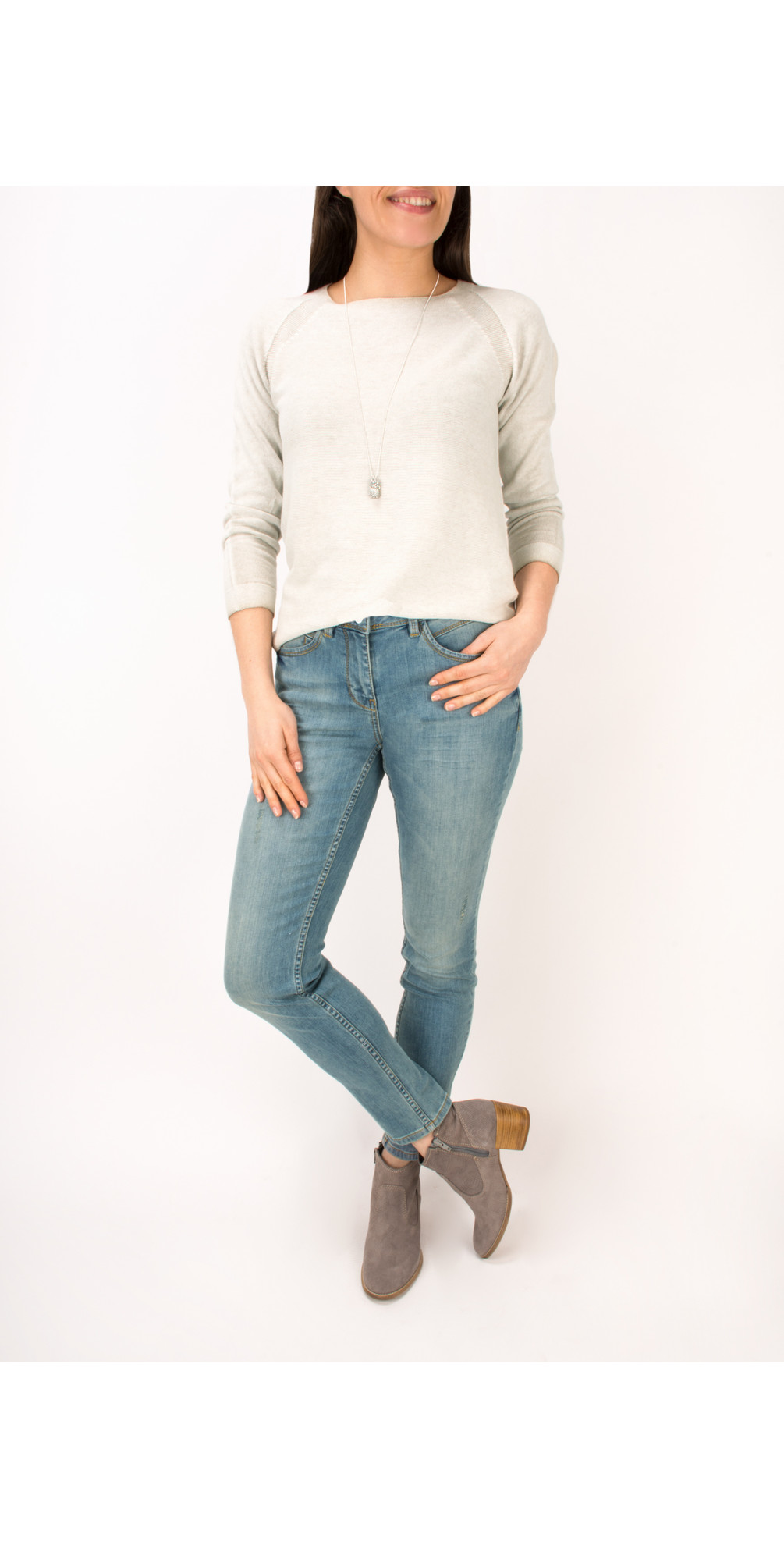 Distressed Dyed Cotton Jumper  main image