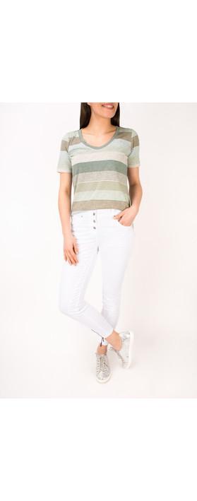 Sandwich Clothing Striped Jersey V Neck T-shirt Washed Jade