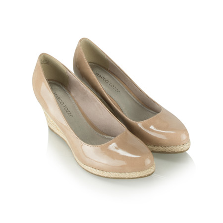 Marco Tozzi Patent Wedge Espadrille Shoe - Pink