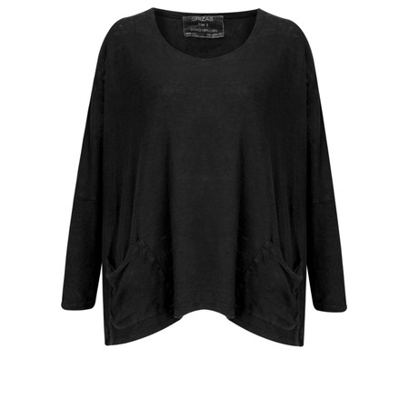 Grizas Oversized Linen Knit Top - Black