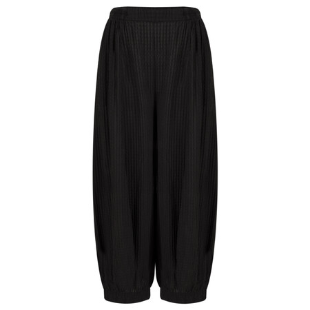 Grizas Silk Checked Loose Fit Cuffed Trouser - Black