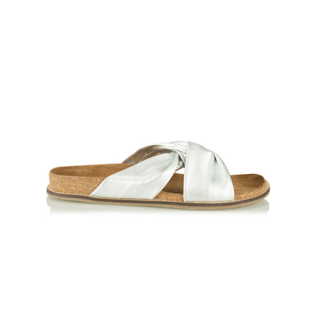 Sandwich Clothing Leather Knot Sandal - Silver
