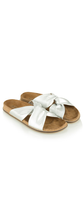 Sandwich Clothing Leather Knot Sandal Anti Silver