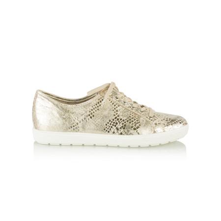 Caprice Footwear Metallic Leather Trainer Shoe - Gold