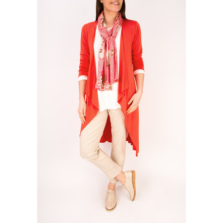 Masai Clothing Ibone Long Fitted Jersey Cardigan - Poppy