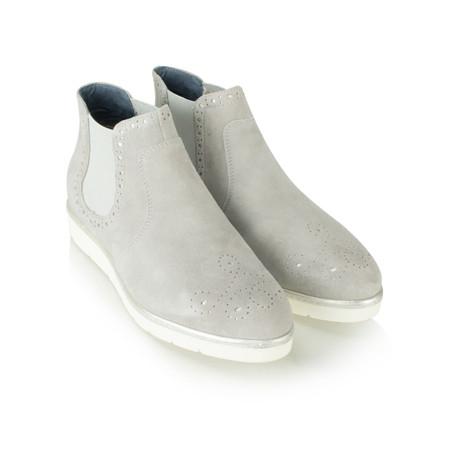 Tamaris  Suede Brogue Chelsea Boot - Grey