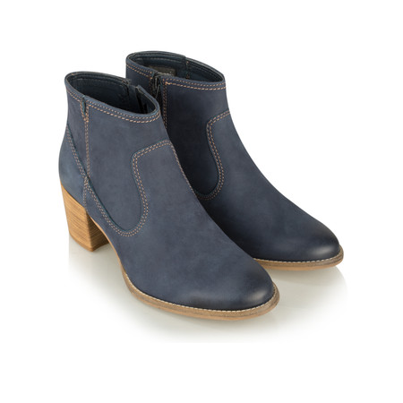 Tamaris  Nubuck Suede Ankle Boot - Blue