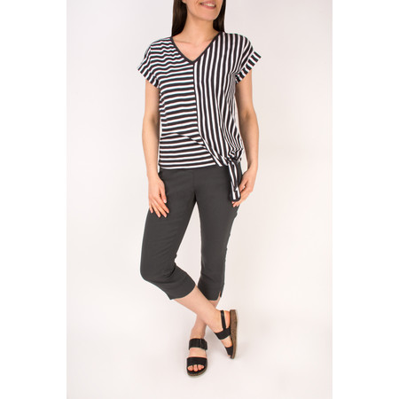 Sandwich Clothing Striped Jersey T-shirt With Tie Hem - Black