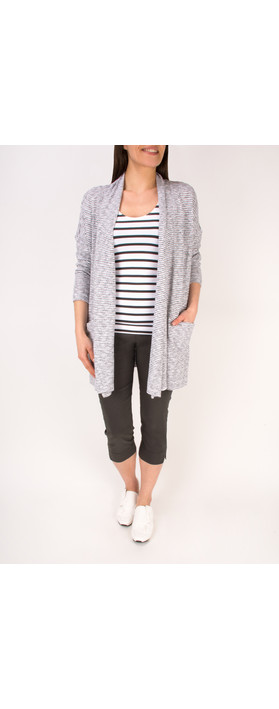 Sandwich Clothing Woven Striped Jersey Cardigan Pure White