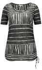 Sandwich Clothing Almost Black Line Print Drawstring Hem Top