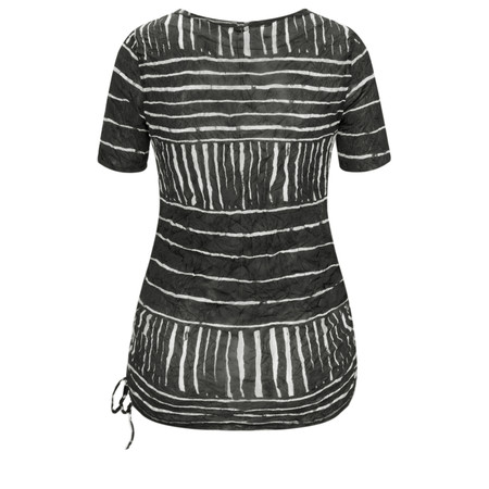 Sandwich Clothing Line Print Drawstring Hem Top - Black